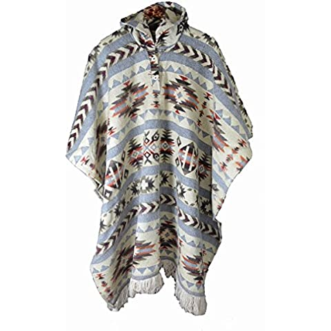 Native American Indian Stile Poncho realizzato a mano, grande grigio beige