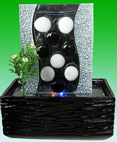 Feng Shui Keramik - Glas Zimmerbrunnen mit LED Beleuchtung 39509