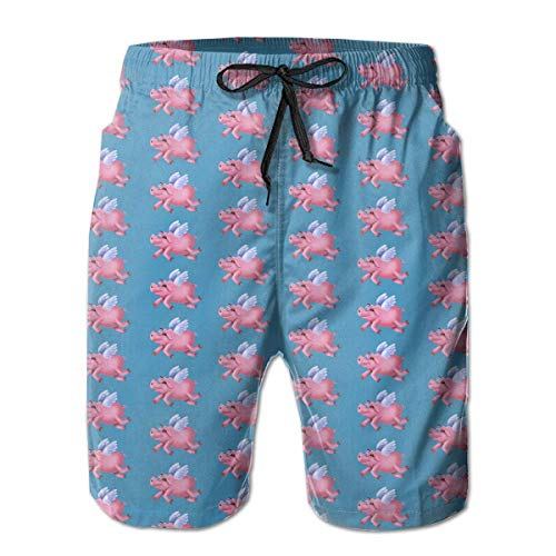 ehose Cute Pink Flying Pigs Bademode Lässige Beach Volley Surf Badeshorts Gedruckt Elastische Taille, M ()