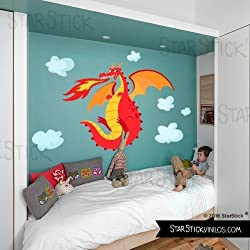 StarStick - Vinilo niño El dragón feroz - Vinilo decorativo infantil - T4 - Gigante
