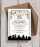 Personalisierte Vintage Hollywood Hochzeitstag Einladungen mit Umschlägen (10Stück)