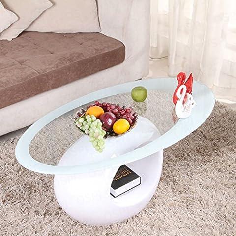 ovale haute Table basse en verre/table de salon, plateau en verre avec du verre de haute MDF Base-white Couleur