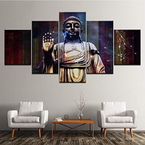 Xzfddn Leinwand Malerei Buddha Gerahmte Kunst 5 Stücke Wandkunst Malerei Modulare Tapeten Poster Drucken Für Wohnzimmer Wohnkultur-30X40/60/80Cm,With Frame