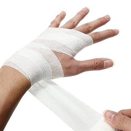 Aubess Atmungsaktiv selbsthaftende Haftbandage Klebeband, Gaze Elastische Bandage, Erste Hilfe Medical Health Care Treatment Bandage–Hoher Tragekomfort (10cm * 5m), Weiß -