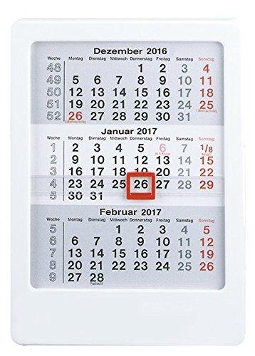 3-Monatskalender 2017 zum Aufstellen - Tischkalender / Aufstellkalender (12 x 16) - mit Datumsschieber