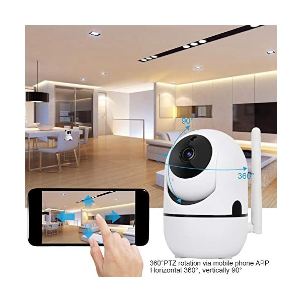 Baby Monitor 720P/1080P HD WiFi Camera Baby Pet Monitor, Smart Wireless IP Camera Indoor Camera with Night Vision and Motion Tracking White(1080P)  720P/1080P HD Images & Night Vision: This baby monitor adopt 1080P/702P full HD lens to ensure bright and beautiful images. Premium infrared light with IR-CUT function, provides clean and clear night vision effect. Intelligent tracking, human body detection, area protection (200W model support). Motion Tracking: The IP camera can monitor movements then send notification to your mobile phone to prevent your home From invasion. Intelligent cruise, internal auto cruise mode, records every corner of your home to escort your home security. 2 Way Audio Anti Noise: Baby pet monitor camera support two-way voice intercom, built-in microphone & speaker and anti noise technology to ensure clear voice quality. The fluent sound allows you to comfort your loved one. You can communicate with each other clearly whenever you want. 4