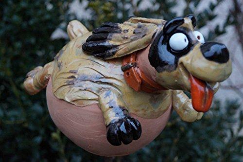 Keramik Gartenkugel Hund Handarbeit Gartenstecker Tierfigur Haustiere Terrasse Deko