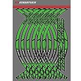 Motorrad Felgenrandaufkleber Rim Stripes Aufkleber Für Kawasaki ZZR1200 (Grün)