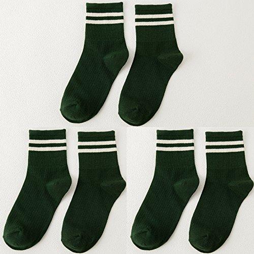 Socken weibliche koreanische Version des Barrel Socken aus reiner Baumwolle socken Herbst und Winter College Baseball Fan, das Licht des Tages der storehouse Socken Socken, alle Codes, die beiden Pole, und dunkelgrün 3 2