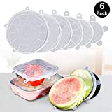 WIDEWINGS Set of 6 Multi Size Silicone Stretch Lids Food Saver Microwave, Freezer