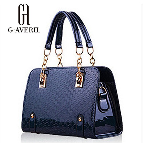 (G-AVERIL) Borsa a Mano Spalla Donna Elegante Pelle Ragazza Grande Borsetta Borsa Tote Shopping Bag Handbag for Women Blu scuro