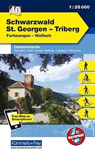 Deutschland Outdoorkarte 40 Schwarzwald St.Georgen-Triberg 1 : 35.000: Furtwangen-Wolfach. Wanderwege, Radwanderwege, Nordic Walking, Skilanglauf, Skitouren (Kümmerly+Frey Outdoorkarten Deutschland)