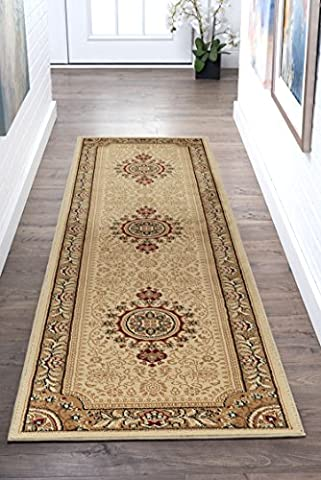 Universal Rugs Jayden Oriental Traditional Runner Accent Area Rug, Beige, 68 x 221 cm/2 x 8 ft