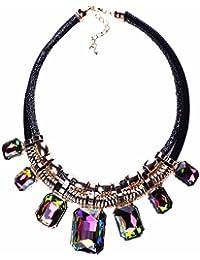 Mujeres Babero Plateado Noble Collar De Joyas De Cristal Colgante De Diamantes De Imitacion Oro De 18 Quilates