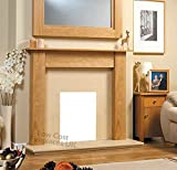 Gas or Electric Oak Wood Surround Cream Marble Stone Hearth Modern Fireplace Fire Suite 48""