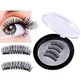Dual Magnetische Wimpern, Skitic Ultradünn 3D Wiederverwendbar Magnetic Eyelashes Natürlicher Blick Gefälschte Augen Wimpern Verlängerung ohne Kleber (1 Paar, 4 Stück)
