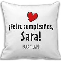 Regalo de cumpleaños personalizable para mujer: Cojín con un corazón y personalizado dedicatoria, nombre y firma.