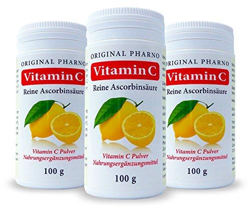 Vitamin C – Reine Ascorbinsäure – Apotheken Qualität 3 x 100 g | 3 Dosen [Original-Pharno]