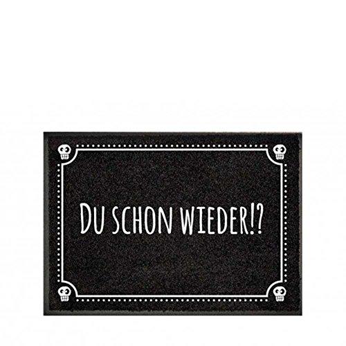 """Pechkeks Fußmatte mit Spruch """"Du Schon Wieder. """" (Größe 70x50cm rutschfest, waschbar, schwarz), 70x50"""