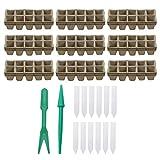 Pots BiodéGradables,Siebwinn 10PCS 24x8.5x5cm 10-Grid Pots En Tourbe Pour Semis BiodéGradable +Pots de Tourbe 2PCS Semis Dibbers + 50 PCS T-Forme ÉTiquettes de Plantes