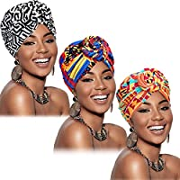 Altercase 3 Pieces Afrikaanse Turban voor vrouwen Knot Pre-Tied Bonnet Beanie Cap Headwrap sjaal