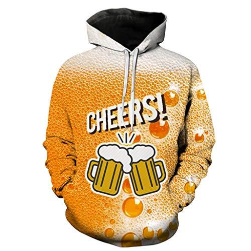 DOLDOA 3D Hoodie, Herrenmode Persönlichkeit cool Bier Festival Hoodie Druck digitales Bier Bierkrug lässig Hoodie