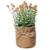 Dosige Künstliche Pflanzen Sträucher Gras mit Sackleinen ummantelt für Draußen Garten Hause Deko Kunststoff Orange 7.5*16.5cm