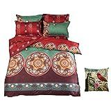 Juego de ropa de cama de 4 piezas, estilo bohemio, incluye una funda de edredón, una sábana + dos fundas de almohada, 150 x 200 cm, 200 x 230 cm, 220 x 240 cm, poliéster