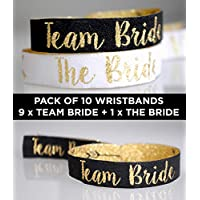Team Bride Black & Gold Hen Party Wristbands (Pack of 10) Hen Party Favours