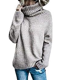 BOLAWOO Sudaderas Mujer Otoño Invierno Elegante Pullover Irregular Cuello  Alto Mode De Marca Manga Largo Anchos Casual Color Sólido… 99579e84f90a