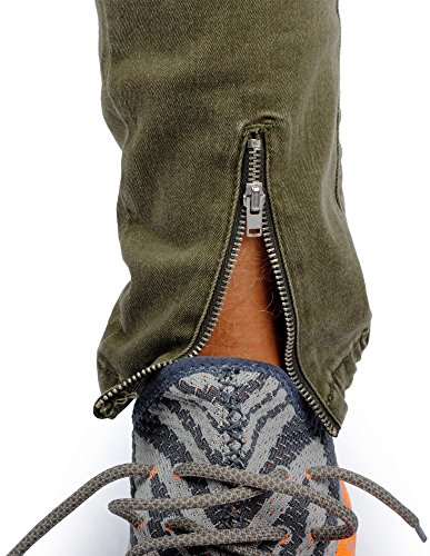 FiveSix Herren Slim-Fit Used-Look Denim Destroyed-Look Zerrissen Löcher Bikerjeans Skinny Jeans Hose mit Stretch Oliv