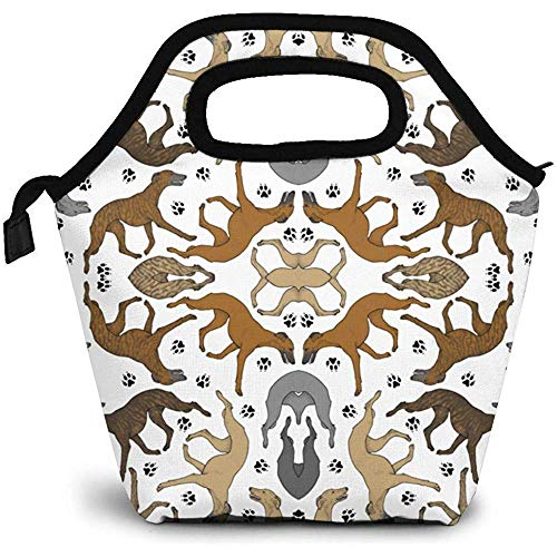 Lunch Tote Trab Whippets Und Paw Prints B 18086 (16045) Damen Handtasche Kids Lunch Box Gourmet Tasche Tote Premium Isolierte Lunchboxen Lunch Bags Picknick -