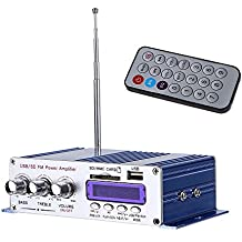Mini Amplificador de señal valido para coche HiFi Estereo de 2 Canales Digital Estéreo Digital Reproductor de Música con Mando a Distancia para Coche Moto Casa Barco Compatible con FM/ MP3/ SD/ USB/ DVD para coches y caravanas