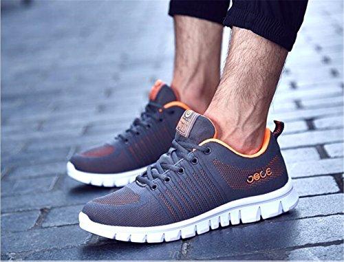 HooH Chaussures de Marche Tricoter Sports Course à Pied Lace Up Loisir Fitness Chaussures Athlétiques Par Gris