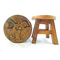Thai Gifts Childrens Wooden Stool - Elephant (Natural)
