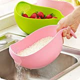 #5: Woogor Rice Pulses Fruits Vegetable Noodles Pasta Multipurpose Washing Bowl & Strainer With Handle, Good Quality & Perfect Big & Largest Size for Storing and Straining plastic Bowl For washing of Rice,Quinoa, Vegetables and Fruits Easier Prep and Serve Multi-Function Bowl with Integrated Colander, Assorted Colors