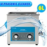 Floureon EU Limpiador Ultrasónico Profesional para Limpiar Piezas, Joyas, Gafas, Monedas [ Limpieza ultrasónica ] (6L-Manual)