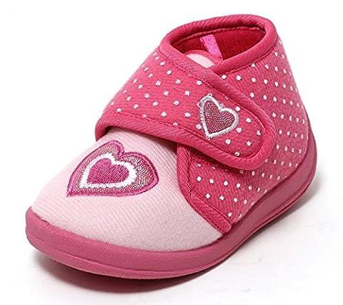 Mädchen Hausschuhe Slipper Kinderschuhe Mädchenschuhe Softschuhe Klettschuhe Kinder Kleinkinder Schuhe rosa Glitzer Herz mit Klettverschluss Gr. 22 - 26 (24)