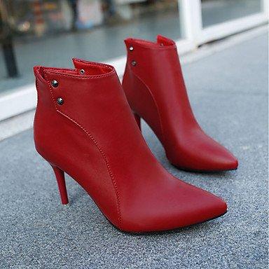 Heart&M Da donna Scarpe Gomma Autunno Anfibi Stivaletti A stiletto Appuntite Per Nero Rosso Marrone chiaro light brown