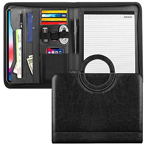 MoKo Zippered Padfolio Portfolio Folder, Portable Handle Professional Business PU Leather Organizer with 11 Inch Tablet Sleeve for iPhone, iPad, Tablets, Notebooks and Documents - Black (Binder Storage Business Card)