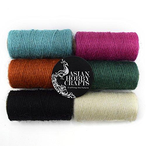 Asian Hobby Crafts Jute Thread Roll (200 yards) - Set of 6 rolls