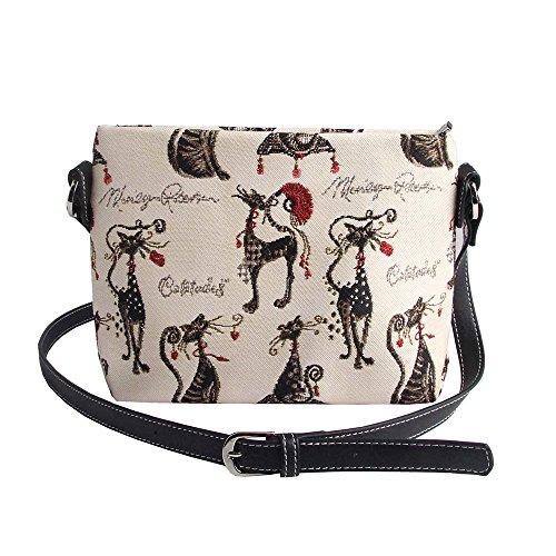 Borsetta donna Signare alla moda in tessuto stile arazzo a spalla borsa messenger a tracolla floreale Gatto atteggiament