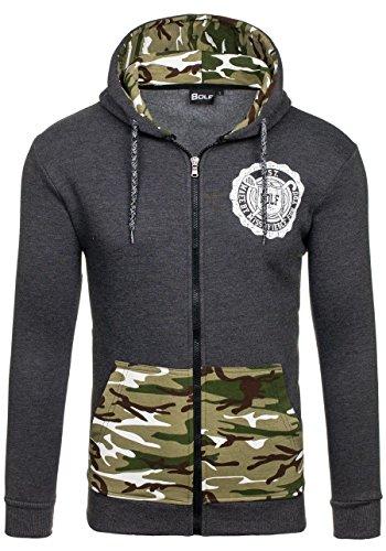 BOLF Mann Army Pullover Sweatshirt Pulli Langarm Motiv Herren Langarmshirt BOLF 72 Anthrazit M [1A1] |