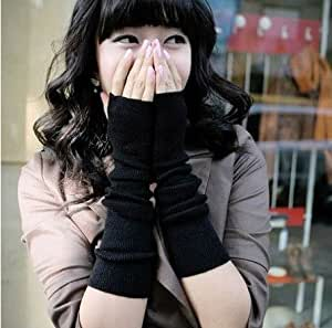 Hot Fashion Women Girls Soft Arm Warmer Long Fingerless Gloves Bracers (BLACK)
