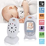 LESHP Babyphone mit Kamera,video babyphone, Wireless Video baby Monitor 2 Zoll LCD 2.4GHz Digital Baby Überwachung Digitalkamera und Temperatursensor Schlaflieder Nachtsicht Gegensprechfunktion
