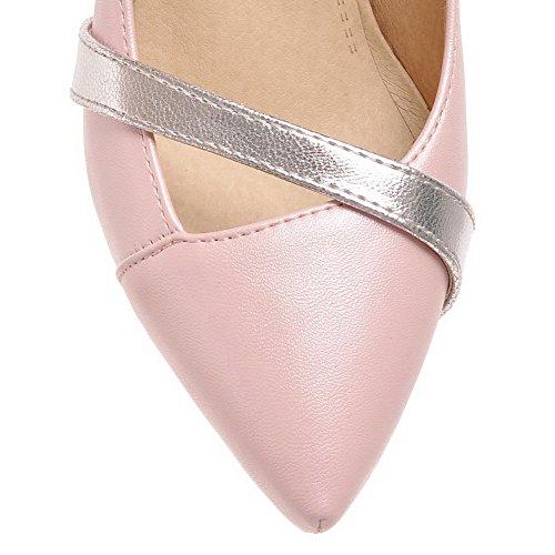 AllhqFashion Femme Pu Cuir Couleurs Mélangées Tire Pointu Stylet Chaussures Légeres Rose