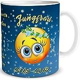 TRIOSK Tasse Smiley Sternzeichen Jungfrau lustiges Geschenk Geburtstag Frauen Männer Freunde Kollegen, Blau Gelb, 300 ml