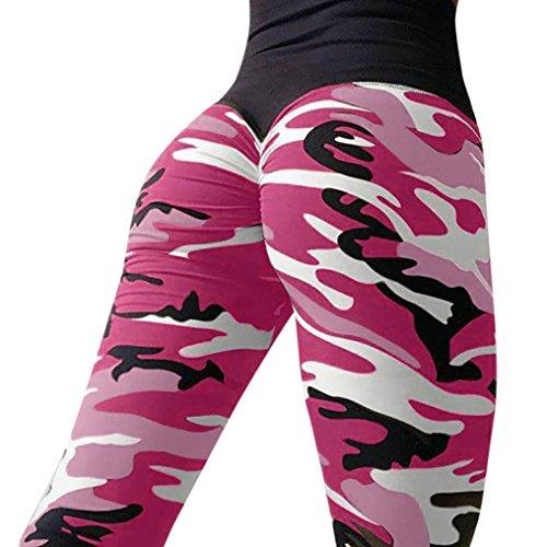 ❤️ Yogahosen Strumpfhose Damen,ABsoar Frauen Tarnung Printed Blumenmuster sexy Yoga Hosen Sporthose Frauen Dünne Fitnesshose Leggings (M, Hot pink) - Printed Korsett