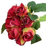 Tita-dong 1bunch haute Simulation 9têtes Rose en Soie artificielle Fleurs tenant à la main de mariage Home Decor, Soie, Red, Small