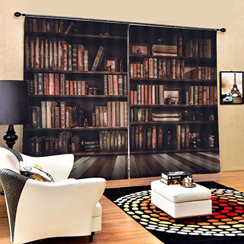 Garciadia Bücherregal Wohnzimmer Digitaldruck 3D Blackout Vorhänge Aquarell für Schlafzimmer Dekor Fenster Behandlung Polyester Dekoration (Farbe: Multicolor) (Für Schlafzimmer Vorhänge Blackout)